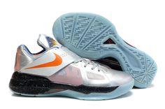 Nike Zoom KD IV AS Galaxy Metallic Silver Total Orange Dark Grey 520814 001 Kevin Durant Shoes 2013