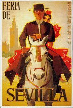 Travel poster for Sevilla, Spain. Pub Vintage, Photo Vintage, Poster Art, Retro Poster, Vintage Travel Posters, Vintage Postcards, Arte Latina, Tourism Poster, Travel Ads