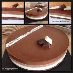 Voici un dessert que je voulais réaliser depuis longtemps : un entremet 3 chocolats. Comme d'habitude, j'ai utilisé mon instinct pour les ingrédients et quantités et je suis plutôt satisfaite de moi !!! J'ai utilisé des crêpes dentelles au chocolat et... Mousse Dessert, Mousse Cake, Chefs, Kitchen Recipes, Cooking Recipes, Cooking Chef, Chocolat Recipe, Thermomix Desserts, Dessert Decoration
