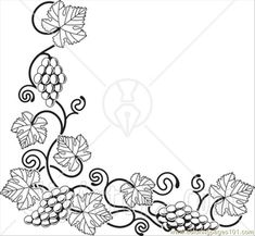 pictures of grapes to color | Coloring Pages Ong A Bottom Left Corner Edge (Food & Fruits > Grapes ...