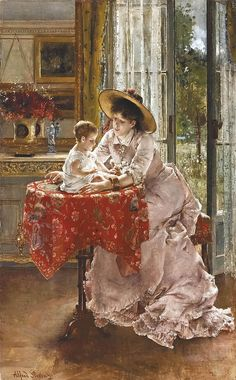 Alfred Stevens (Belgian, 1823-1906) The Contented Mother signed 'Alfred Stevens' (lower right) oil on panel