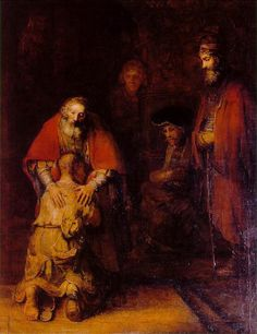 """""""Father, I have sinned against heaven and before you; I am no longer worthy to be called your son."""" But the father said to his slaves, """"Quickly, bring out a robe - the best one - and put it on him; put a ring on his finger and sandals on his feet. And get the fatted calf and kill it, and let us celebrate; for this son of mine was dead and is alive again; he was lost and is found! """"And they began to celebrate."""" - Luke 15:11-24"""