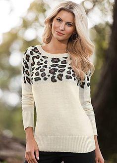 Off White Multi (OWMU) Leopard Print Sweater $39