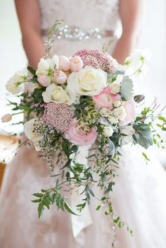 Hottest 7 Spring Wedding Flowers--pink roses, baby breath and white ranunculuses bridal bouquets for outdoor wedding ceremony, wedding reception ideas, wedding flowers. flowers pink Hottest 7 Spring Wedding Flowers to Rock Your Big Day Cascading Wedding Bouquets, Bridal Flowers, Floral Wedding, Trendy Wedding, Flower Bouquets, Tulip Bouquet Wedding, Cascade Bouquet, Trailing Bouquet, Cascading Flowers