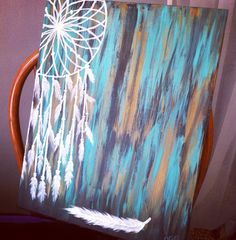 Hand painting acrylic Dream Catcher with turquoise, black and gold background on 16x20 canvas $40.