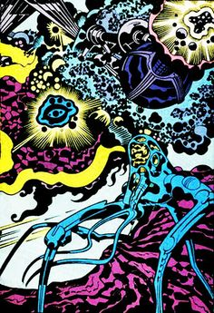 Jack Kirby art  This was the type of Cosmic panel that Kirby pioneered. Yes Ditko uses elements of this in his magical worlds of Doctor Strange, but Kutby nailed this. Jim Starlin made a career out of Marvel Cosmicness.