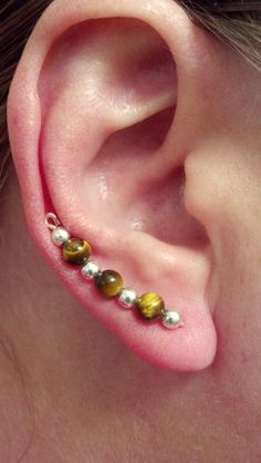 Tigers eye and silver ear sweep ear vines ear pins by Natjerm, $13.00