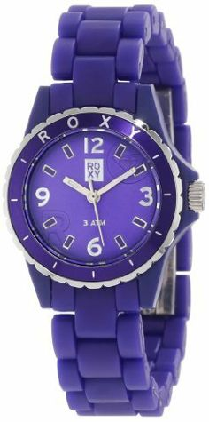 Roxy Women's RWWA008-PUR Mini-Jam Purple Analog Watch Roxy. $60.89. Japanese quartz movement. Water-resistant to 10 M (33 feet). Case diameter: 30 mm. Turning bezel. Acrylic crystal. Forget fumbling through your purse for your cell when you have the slamming Roxy Women's Jam S Watch strapped to your wrist. Not only is it a sweet piece of wrist candy, but it keeps you from missing your meeting with your manager.Product FeaturesHousing Material: polycarbonateStrap Material: p...