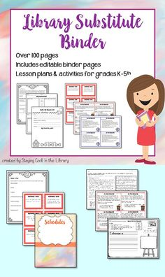 Library Substitute Binder - Make planning for a substitute easier with this library substitute binder. There are editable binder pages, cover pages, lesson plans, worksheets and activities – over 100 pages! The lesson plans and activities are great to use as emergency sub plans. The lessons are for Kindergarten – 5th grade so all of your classes will be covered.