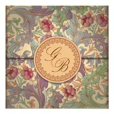Elegant Retro Wedding Invite Design #wedding #invitations #weddinginvitations #flowers #gold #victorian