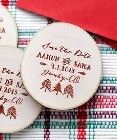 75 Custom Woodland Tree Save The Date/Thank You Wedding Favor Wood Magnets. $110.00, via Etsy.