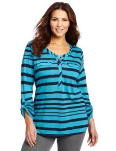 www.iwantobefitnow.tumblr.com/  Lucky Brand Women's Plus-Size Stripe Gayle Henley #fashion #Plus-Size
