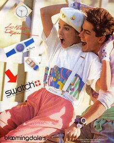 1987 Swatch watch is still a popular trend these day. You can create a fun, sporty, even sweet look with these Swatch watch is still a popular trend these day. You can create a fun, sporty, even sweet look with these watches. 80s And 90s Fashion, College Fashion, World Of Fashion, Retro Fashion, Fashion History, 1987 Fashion, Disco Fashion, Vintage Fashion, Punk Fashion