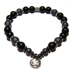 Be Strong - Matte Hematite and Matte Black Onyx Positive Energy Bracelet with Ohm Charm | Edgy Soul