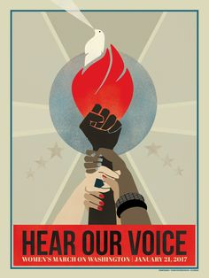 Women's March Protest Poster – Hear Our Voice by Ninboy Protest Kunst, Protest Art, Protest Posters, Protest Signs, Trump Protest, Marie Claire, Et Tattoo, Tattoos, Kunst Poster