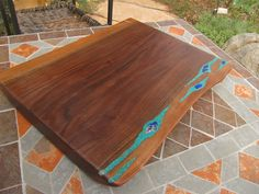 Large Wood Tray cutting board with turquoise and by rusticandy