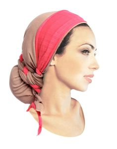 Khaki Tan Head Scarf Hot Pink Wrap Boho Chic Long by ShariRoseShop