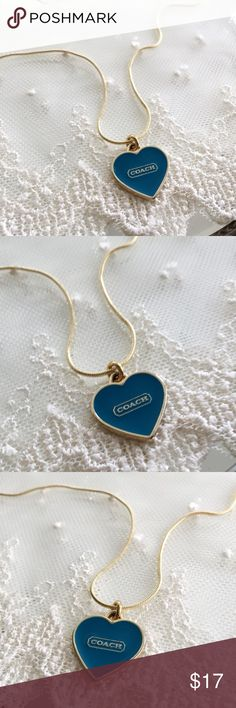 """Coach Turquoise Logo Heart Charm Necklace 🎀NOTE TO BUYERS... all my items are marked down to lowest price for the Holidays. PLEASE DON'T MAKE OFFERS, MY PRICE IS FIRM. Thank you and have a Wonderful Holiday Season!🎀  100% Guaranteed Authentic Coach Gold Logo Turquoise Heart charm on CUSTOM 19.5"""" 18k plated (stamped) necklace with lobster closure clasp. No box included.  Brand new!  Follow me so you can be notified of new items listed!  Take a peek at my other listings for more treasures…"""