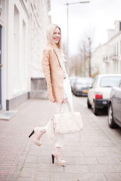 the beauty of neutrals. love the light peach jacket with white basics! -Deborah Jaffe