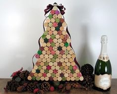 Glue together wine corks to form a tree. | 38 Fabulous DIY Christmas Trees That Aren't Actual Trees