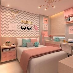 Girl bedroom designs - 168 cute teenage girl bedroom ideas 15 Hometwit com Home Room Design, Room Makeover, Room Design, Bedroom Makeover, Stylish Bedroom, Bedroom Decor, Teenage Girl Bedroom Decor, Aesthetic Bedroom, Dream Rooms