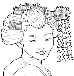 Geisha 3 by khallion on DeviantArt Free Printable Coloring Pages, Coloring Book Pages, Geisha Drawing, Hot Glue Art, Oriental People, Cool Art Drawings, Portraits, Line Drawing, Drawing Sketches