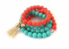 The Tassel Necklace/Bracelet Combo - Turquoise/Coral!