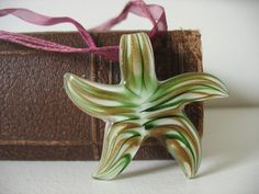 Merano Glass Starfish Necklace Green & Bronze by CreatingWorks