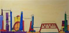 "Marchu Torres, ""Bridge""   Acrylic & Ink on Canvas   $4,250   Source: http://www.art-mine.com/artistpage/marchu_torres.aspx   Agora Gallery   Contemporary Fine Art   NYC, NY."