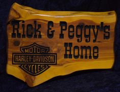 Motorcycle Sign - Rick and Peggy Photo Lake House Signs, Cabin Signs, Cottage Signs, Home Signs, Camper Signs, Harley Davidson Motor, And Peggy, Personalized Signs, Carving