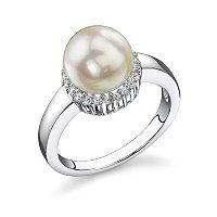Sterling Silver AAA Quality 7.5-8.0mm Cultured Akoya Pearl & Simulated Diamond Ring ShopNBC.com