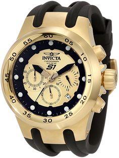 Invicta Men's 1511 Specialty Chronograph Gold Dial Black Polyurethane Watch