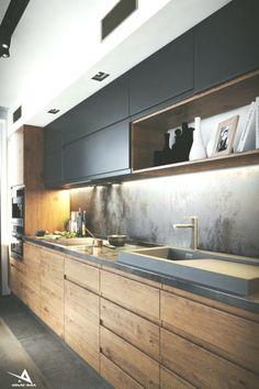 Trendy Darkish Kitchen on Behance modernkitchen #behance #kitchen #modern #modernkitchen
