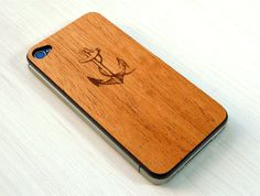 Anchor & Rope Etching on Real Wood iPhone 4 Skin Cover