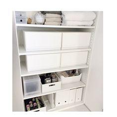 Instagram media by negimami06 - 整理収納ご依頼頂いたお宅の洗面室の収納。  無印・ikea・ニトリの収納で使いやすいものを集結させてます(^-^) ホワイトの洗面室なので、収納グッズもホワイトで統一しました。 #整理収納  #収納 #negimamiinterior  #洗面所