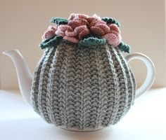 Hand knitted Pure Wool Floral Teapot Cosy  Size by taffertydesigns