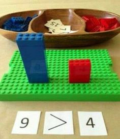 Playful learning with Lego math games. What a simple and fun way to learn math concepts lernen Math Classroom, Kindergarten Math, Teaching Math, Learning Activities, Kids Learning, Activities For Kids, Math Games For Preschoolers, Montessori Activities, Indoor Activities