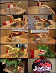 T-Rex Dinosaur, Jurassic Park cake Dinosaur Cake Tutorial, 3d Cake Tutorial, T Rex Cake, Dino Cake, Gravity Defying Cake, Gravity Cake, Jurassic World Cake, Jurassic Park, Cake Decorating Techniques