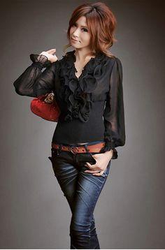Elegance OL Style Layered Ruffles Collar Long Sleeve Business Chiffon Shirt For WomenBlouses | RoseGal.com