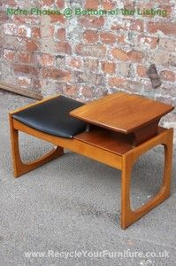RETRO VINTAGE TELEPHONE TABLE / SEAT WITH BLACK SEAT