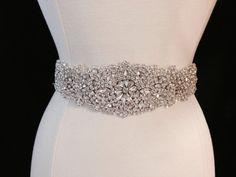 Bridal Sash - Wedding Dress Sash Belt - Rhinestone and Pearl Ivory Wedding Sash - Ivory Rhinestone Bridal Sash