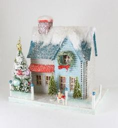 Blue Putz House with Dog | Glittered Christmas House with Scottish Terrier - TheHolidayBarn.com