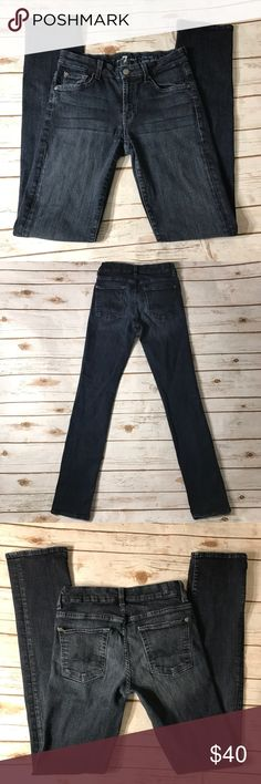 "7 For All Man Kind Straight Leg Jeans Dark wash Skinny straight leg 7FAM jeans size 28. No rips or stains. In really good condition. Measurements for flat lay: waist 27"" outseam 41.5"" inseam 33"" rise 8.5"" 7 For All Mankind Jeans Straight Leg"