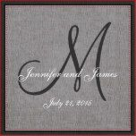 Personalized gray and white monogrammed pillow with bride and groom names and wedding date in a script font over design on a PRINTED gray linen photo effect background. Elke Clarke© for MonogramGallery at Zazzle. Makes a great gift for newly weds. Great trendy, elegant accessory for your bedroom, favorite chair, as fun home decor in your family room or formal decorative addition to your living room. Customize with your names, monogram initial and wedding date.