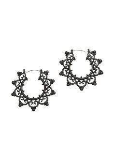 Blackheart Matte Black Ornate Hoop Earrings,