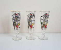 """Set of 3 Vintage Libbey Rock Sharpe """"Treasure Island"""" Pilsner Beer Glasses - graphics by Freda Diamond with gold rims by on Etsy Treasure Island, Rock, Unique Jewelry, Tableware, Handmade Gifts, Bar, Etsy, Vintage, Kid Craft Gifts"""