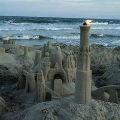 Sandcastle and lighthouse