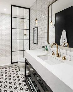 35 Stunning Modern Farmhouse Bathroom Decor Ideas Make You Relax In If you are looking for [keyword], You come to the right place. Below are the 35 Stunning Modern Farmhouse Bathroom Decor Ideas. White Bathroom Tiles, Shower Remodel, Classic Bathroom, Farmhouse Bathroom, Bathroom Vanity, Modern Bathroom, Classic Bathroom Design, Modern Farmhouse Bathroom, Bathroom Design