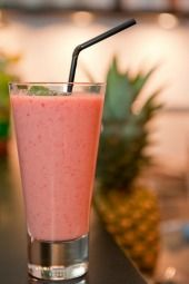 P.I.N.K. Method: Developed by nutritionist Cynthia Pasquella- Breakfast PINK Drink #1 - 1 cup coconut or almond milk, 1 scoop vanilla whey protein powder, 1 cup frozen (unsweetened) strawberries or fresh strawberries. Blend and enjoy!