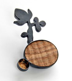 DESERT PATH, brooch, silver, patina, wood, leaf gold, 57 mm, 2009  MELITINA BALABIN -FI
